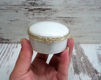 Beautiful small Trinket Box, Vintage Porcelain Box, White mother-of-pearl Box, Small Jewelry Box, Porcelain Hinged Trinket Box
