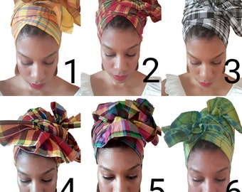Creole Wrap  Caribbean Head Wrap African Head Wrap Madre Headwrap African Head Scarf Head Band Yoga Scarf Ankara Head Tie  Madras Head Wrap