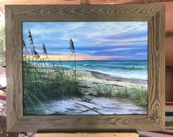 """ORIGINAL ...Oil Painting of sunset sky on Florida's Vero Beach , """"Just Before Dusk"""" by Buddy Brown"""