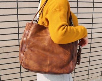 Leather Bag, Brown Leather Handbag, Woman Leather Bag, Leather Shoulder Bag, Handbag With Drawstring, Leather Tote Bag