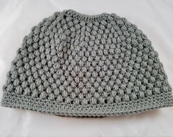 Knit MessyBun - Ponytail Hat adult size 100% soft Acrylic Puff Stitch