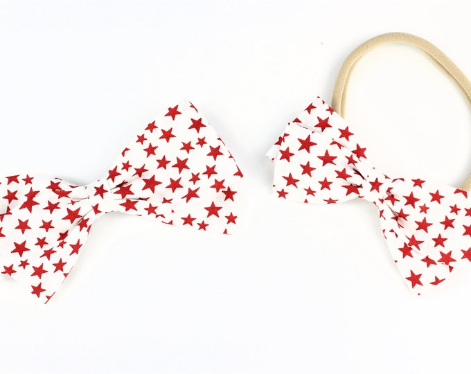 Fourth of July Girl - Hair Bow - Red Stars