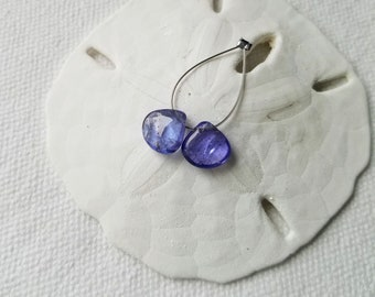 Luxurious Matched Pair of Tanzanite heart shaped smooth briolettes beads 7.5mm x 7.5mm