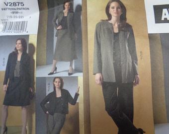 Vogue Adri Jacket, Top, Skirts & Pants Sewing Pattern V2875 Uncut Misses' / Misses' Petite Sizes 18, 20, 22