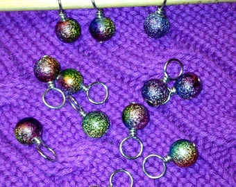 Rainbow Stardust acrylic stitch markers for knitting