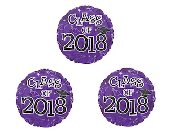 Set of 3 CLASS OF 2018 Purple Graduation Party Balloons Decoration Supplies