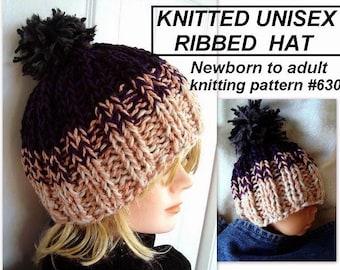 Hat Knitting PATTERN, Unisex Knitted Ribbed Beanie  Hat (Baby, Kids, Toddler, Child, Men, Women, Adult sizes) #630