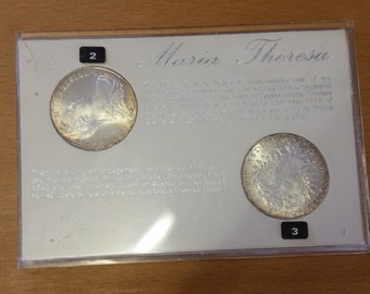 Two Cased Solid Silver Maria Theresa Thaler Coins