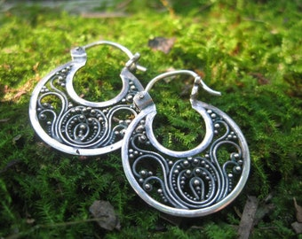 sterling silver bohemian moon filigree earrings VINTAGE bohemian gypsy
