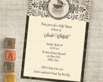 Pram Baby Shower Inviation Baby Buggy Shower in Brown Gender Neutral Custom Personalized Digital Professional Printing Option
