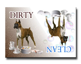 Boxer Dog Clean Dirty Dishwasher Magnet