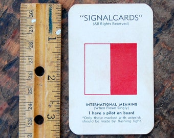 "Vintage Signal Card, WWII Era, Navy International Code Flag "" How H """