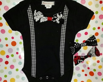 The Gentleman's Onesie, Bowtie Onesie,  Suspenders, Dapper Dude onesie, Boys Bodysuit