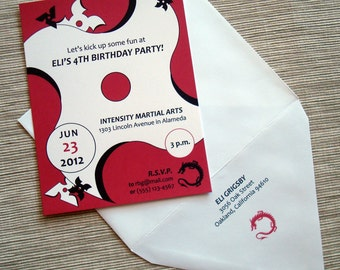 Ninja Karate Martial Arts Birthday Party Invitations with Flying Stars and Dragon - DESIGN FEE