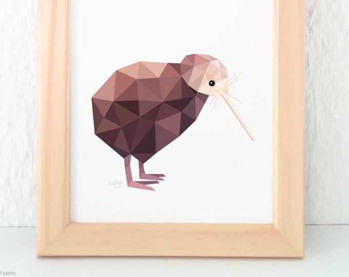New Zealand kiwi print, Kiwi artist, Brown kiwi, Kiwiana, Kiwi home decor, Kiwi wall art, New Zealand birds, New Zealand gift, NZ animals