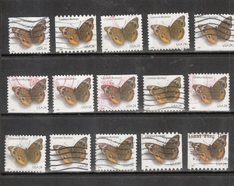 25 COMMON BUCKEYE (Moth) Used & Cancelled US 24c Postage Stamps (Brown and White in color)
