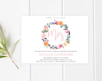 Bridal Shower Invitation, Bridal Shower Invite, Bridal Shower Invites, Boho Floral, Boho, Floral Bridal Shower Invitation, Bridal Shower 746