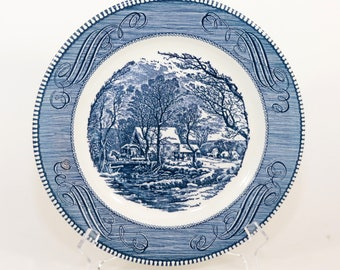 Royal USA Currier and Ives Plate Vintage The Old Grist Mill, Blue & White Mint 10""