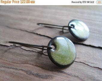 Short Dangle Earrings, Green Copper Enamel Jewelry, Nickel Free Short Kidney Earwires, Olive Green, Handmade Earrings