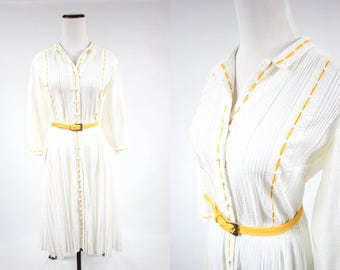 1950's White Cotton Long-sleeve Pleated Fit 'n' Flare Dress