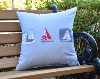 Boat Trio 16 inch Blue Decorative Geometric Throw Outdoor Pillow