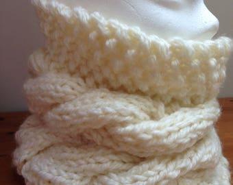 Ecru hand knitted wool Snood
