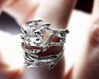 Elvish Herkimer Diamond ring: twigs and natural crystal stone - engagement ring
