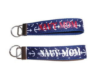 Navy Mom, Key Fob, Keychains For Women, Nautical Anchor Key Holder, Optional Swivel Hook, Navy Blue Fabric Key Chain With Vinyl Lettering