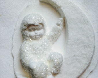adorable Snowbabies sculped blank card and ornament Dept 56 snow baby Christmas, nursery kitsch holiday display yesteryears