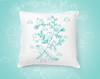 Birds and Leaves pillow cover