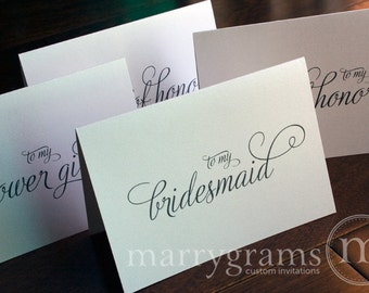 Bridesmaid Cards, Maid of Honor, Wedding Party Thank You Cards to go w Gift -  Bridal, Flower Girl, Bridesman Thank You Notes (Set of 6)