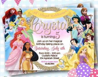 Disney Princess Invitation, Disney Princess Birthday, Princess Invitations, Princess Birthday, Disney Princesses, All Princess Party - P617