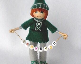 Bendy Doll Elf, Bendable Boy Figure,  Halfpenny Pixie, Personalized