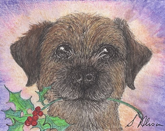 Border terrier dog pup puppy 8x10 inch art print by Susan Alison foxhound rough-coat happy holidays holly sprig Coquetdale Redesdale terrier