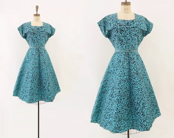 Vintage 1950s Dress 50s Party Dress 50s Taffeta Dress Turquoise Blue Dress 1950s Fit and Flare Holiday Party Dress m