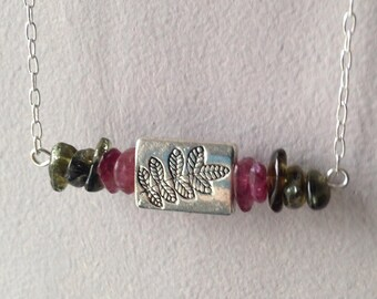 Pink and Green Tourmaline Fern Botanical Necklace