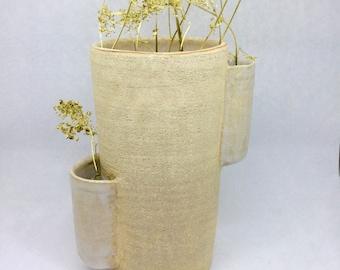 Turned stoneware vase thrown stoneware vase