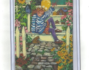 REDHEAD Aceo Artist Trading Card Print of Original acrylic Painting