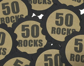 50th Birthday Favor Tags, 50 Rocks, Set of 12, Black and Kraft Brown