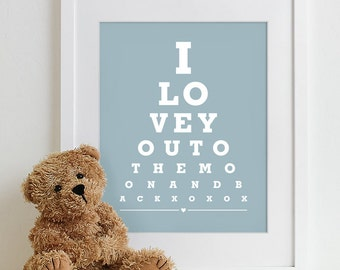 Kids Wall Art Print Eye Chart - nursery wall decor childrens room baby shower gift quote art - To The Moon And Back 8x10