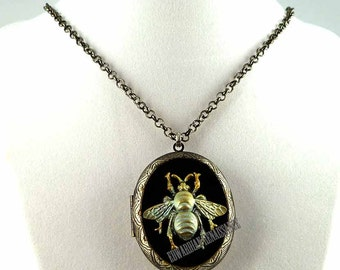 Verdegris Large Bee Pill Box Necklace Inlaid in Hand Painted Glossy Black Enamel Locket Steampunk Bee with Personalized and Color Options