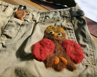 Purse Brown Needlefelted Owl Cute Lining