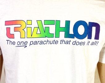 vtg 90s Neon Logo Triathlon Parachutes T-Shirt Aerodyne Research Skydiving S/M