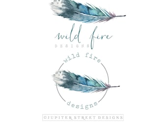 Logo package-Feather Logo-Boho Logo-Business Branding