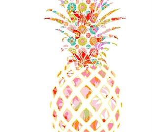 pineapple wall art, pineapple art, pineapple decor, pineapple print, fruit print, baby girl nursery, tropical print, pineapple nursery decor