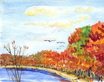 Original watercolor painting - Massapequa Preserve