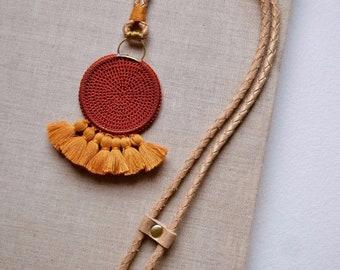 Crochet Disc Tassel Necklace - Rust & Turmeric