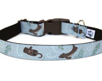 "Otter Dog Collar 1"" Summer Dog Collar Ocean Dog Collar"