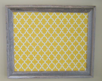 Yellow Quatrefoil Print and Natural Reclaimed Wood PIn Board Moroccan Magnetic Board Rusti Marigold Yellow and Gray