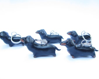 Dachshund Stitch markers (set of 5) polymer clay dog stitch markers black tan dachshund